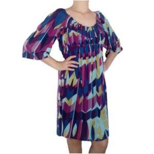 Muse Abstract Print Boho Peasant Dress Size 12